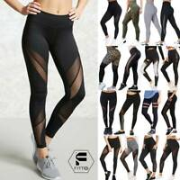 Women's High Waist Mesh Yoga Pants Sports Leggings Fitness Runnning Gym Trousers