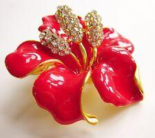 Brosche Strass Kristall Blatt Anstecknadel Button Anstecker Badge Gold Blume Rot