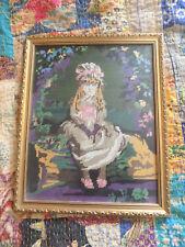 Handmade Welsh Tapestry, Little Girl, Framed, 35cm x 44cm