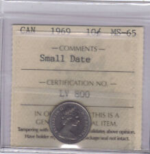 **1969** Canadian 10 Cents (Small Date)  - ICCS MS-65 *NO SALES TAX*
