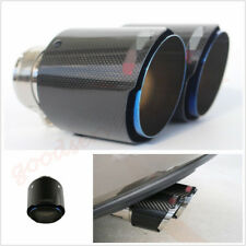 "Half Blue 3"" 76mm Real Carbon Fiber Glossy Car SUV Modified Exhaust Tips Muffler"
