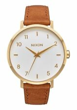 Nixon Arrow Leather Watch Gold/White/Saddle NEW in box