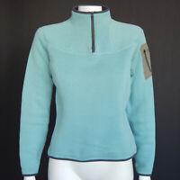 ARC'TERYX Aqua Blue Gray Half Zip Fleece Womens Jacket size Small /2656