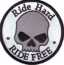 Iron On/ Sew On Embroidered Patch Badge Ride Hard Ride Free Circle