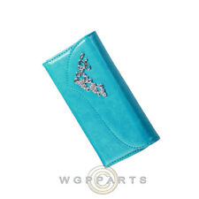 Jewel Wallet Pouch for Apple iPhone 6 Blue with Silver Heart Closeout Case