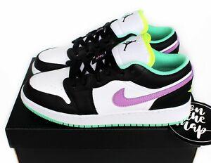 Nike Air Jordan 1 Low Violet Shock Green Black White GS UK 3 4 5 6 7 US New