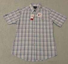 MLB Milwaukee Brewers Mens Short Sleeve Plaid Dress Shirt Size L