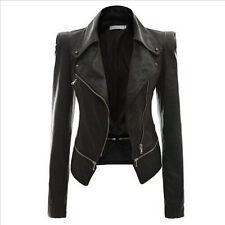 New Womens- Slim- Biker Motorcycle Jacket Coat PU Soft Leather Zipper Black