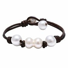 Handwoven Women's Cultured Freshwater Pearls Bracelet with Genuine Leather and W
