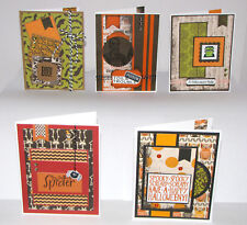 "Halloween Greeting Cards Handmade - Set #3 - 5 A2 Size (5.5""X4.25"") & Envelopes"