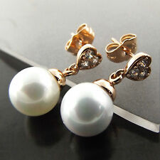 PEARL EARRINGS STUDS 18K ROSE G/F GOLD DIAMOND SIMULATED HEART DROP DESIGN