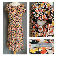 Cute M&S teadress retro floral black flutter sleeves UK 10 cottagecore folk