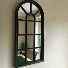 70cm Black Window Style Arched Wall Hanging Mirror Glass Panel Vintage Shabby
