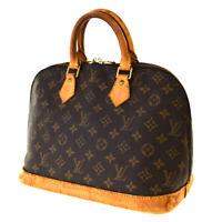 Authentic LOUIS VUITTON LV Alma Hand Bag Monogram Leather Brown M51130 33SB465