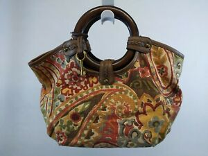 NWOT FOSSIL Handbag Satchel Bag Purse Brown FLORAL CANVAS WOODEN HANDLES