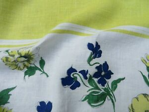 Vtg Antique 50s Tablecloth LINEN Chartreuse Green Center Blue Flower White 50X48