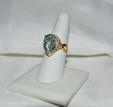 Glamoroso 6.21ct. Natural Topacio Azul Cielo & Diamante Original Anillo de