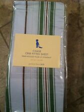 Pottery Barn Kids CHASE Striped CRIB SHEET New Blue Green Brown