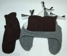 Toddler Boys BLACK GREY Fleece Jester Hat & Mittens