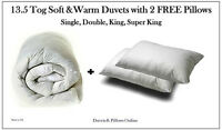 New 13.5 Tog Synthetic Duvet & 2 Pillows - Single Double King Super King Quilt