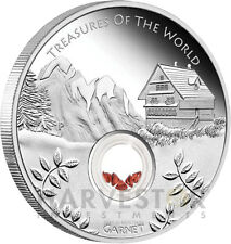 2013 TREASURES OF THE WORLD - COIN #1 GARNET - 1 OZ. PROOF SILVER - CLOSEOUT !!