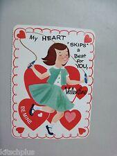 Vtg Valentine Card 50s Auburn Hair Redhead Girl Jump Rope Heart Skip Beat UNUSED