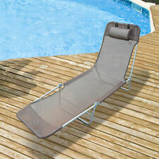 Outsunny Sun Lounger Bed Garden Chair Recliner Relaxing Camping Deck Adjustable.