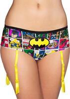 Batman Comic Print Ladies Pantie w/ Garter XLarge Hipster Lingerie Robin Joker
