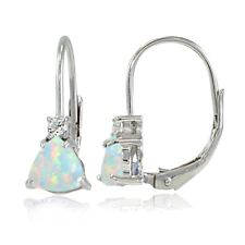 Sterling Silver Created Opal & White Topaz Trillion-Cut Leverback Drop Earrings