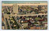 1944 Preston Gardens St. Paul Street New Viaduct Baltimore Maryland Postcard A87