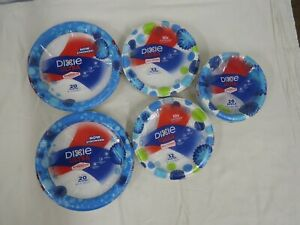 5 Assorted Size NIB Dixie Ultra Paper Plate Packs (130 plates total) Blue Floral
