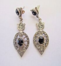 * .925 STERLING SILVER ONYX AND MARCASITE DANGLE EARRINGS 12 GRAMS