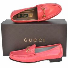 GUCCI New sz 34 - 4 Designer Horsebit Leather Womens Flats Loafers Shoes Pink