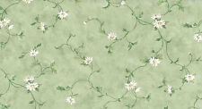 White Daisy Wallpaper Green Vines Waverly Cottage 5505622 Double Rolls