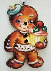 GINGERBREAD MAN w PINK FROSTED CUPCAKE  * Glitter CHRISTMAS ORNAMENT * Vtg Img