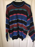 Vintage Lightning Bolt Textured Cosby Coogi Style Sweater Large Multicolor Green