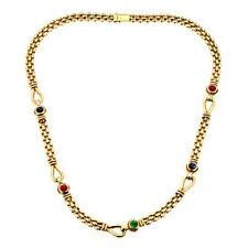 Halsketten und Anhänger aus mehrfarbigem Gold mit Smaragd