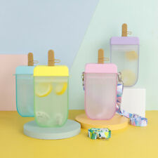 Cute straw cup Plastic popsicle Water Bottle Outdoor transparent drinking cuDX5