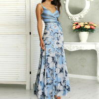 Women Casual Summer Floral Print Wrapped Tied Side V-Neck Sexy Sheath Maxi Dress