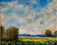 Sunny Meadows Oil Painting Impressionist LANDSCAPE Andrew Semberecki