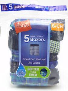 5pr Boy's Hanes Plaid Boxer Shorts Small 6-8