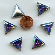 121 *** 6 CABOCHONS ANCIENS CRYSTAL FOND CONIQUE TRIANGLE 15,5mm CRYSTAL AB