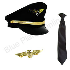 Pilot Aviator Captain Hat Black Tie Gold Pin Badge Fancy Dress 1980s 80s Costume