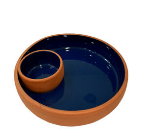 """Indoor Outfitters Terra Cotta Chip And Dip Set Cobalt Blue Made Portugal 10"""" EUC"""