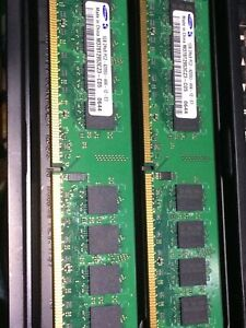 SET OF 2 SAMSUNG 1GB 2Rx8 PC2 4200U PC MEMORY CARDS M378T2953CZ3 (2 GB TOTAL)