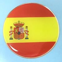 SPANISH FLAG Sticker/Decal - 50mm DIAMETER WITH HIGH GLOSS DOMED GEL FINISH