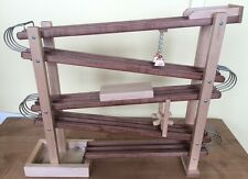 WOOD & METAL MARBLE RACE RUN Amish Handmade Toy Roller Track with Glass Marbles