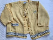 Girls 3-6m Vintage Floral Patchwork Yellow Sweater Cardigan NWT