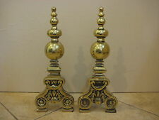 "Pair Of Vintage Heavy Brass Fireplace Andirons, 18"" Tall X 7"" Wide X 6 1/2"" Deep"