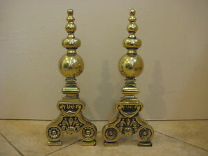 """Pair Of Vintage Heavy Brass Fireplace Andirons, 18"""" Tall X 7"""" Wide X 6 1/2"""" Deep"""